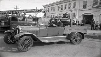 Red Deer Archives, N4001; Old and new fire trucks, 1953.