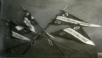 Red Deer Archives, P2306; Pennants of the Commanding Officer and Squadrons A, B and C of Lord Strathcona's Horse, ca. 1900