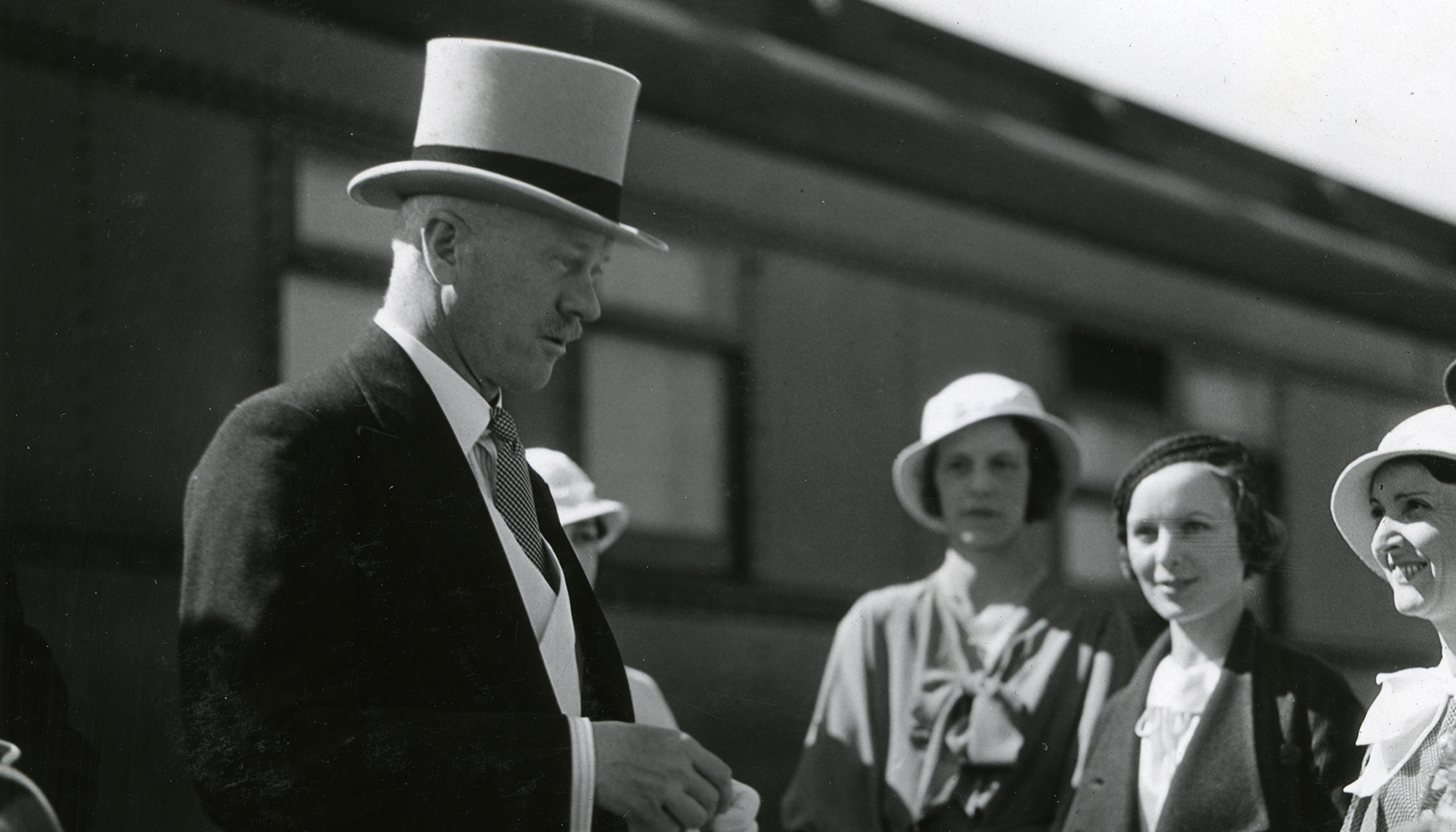 The Earl of Bessborough, Governor General of Canada, being greeted at the railway station in Edmonton, AB, 1933
