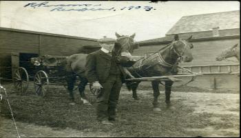 Red Deer Archives, P455; Dr. Richard Parsons with horse and buggy, 1903