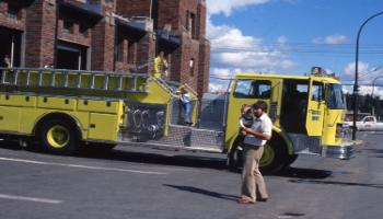 Red Deer Archives, S2926; Red Deer fire engine outside the fire hall, 1980