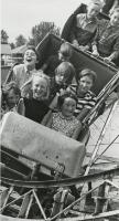 Red Deer Archives, P3787; Young boys and girls on a rollercoaster at the Westerner Exhibition Fair, 1968