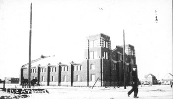 Photo of Red Deer Armoury building circa 1914-1916