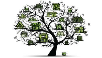 Tree of houses from the cover of Report to the Community Homelessness & Affordable Housing Initiatives 2013-2014.