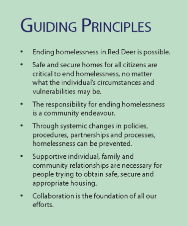 Guiding principles for ending homelessness in Red Deer as outlined in Red Deer's 5 Year Plan to End Homelessness 2014 to 2018.