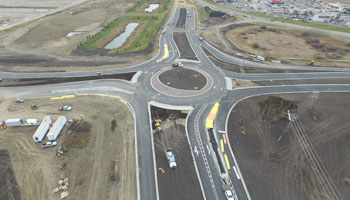 Overhead photo of Red Deer roundabout