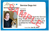 photo of sample Service Dog identification card