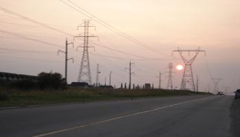 High voltage transmission lines in Red Deer