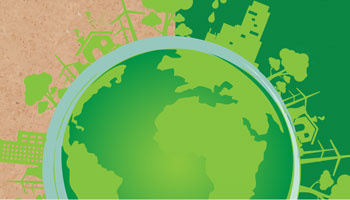 Designed graphic depicting the earth with buildings and trees surrounding it