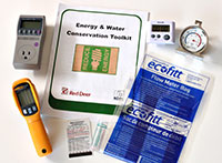 photo of different tools used in the energy and water conservation toolkit