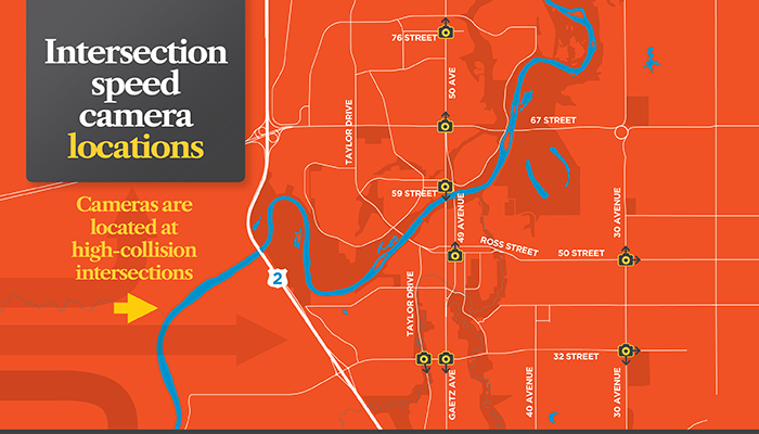 graphic showing where Intersection Speed Cameras are located