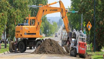 Machinery working on road construction in Red Deer