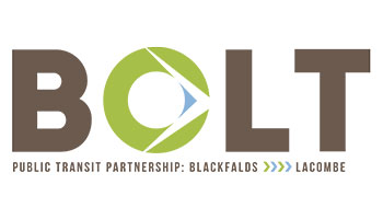 BOLT logo for transit service between Blackfalds, Lacombe and Red Deer