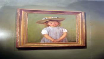 Painted mural of a painting of a little girl in a straw hat and blue dress.