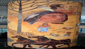 Painted canvas depicting aboriginal life. Portrait of a Maskepetoon and horses.