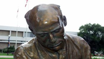 Close up of the head on the sculpture of Francis Wright Galbraith.