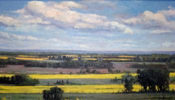 Paiting of prairie farmland landscape in the summer.
