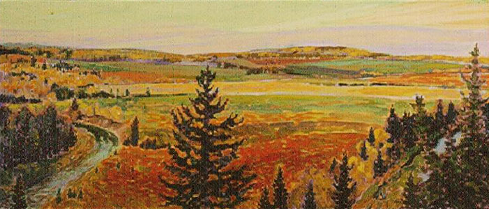 Paiting of a landscape in autumn with a road winding on theleft and prairie land on the right.