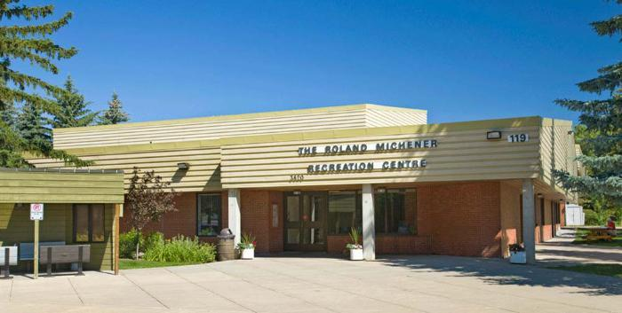 Outside view of the front doors of the Roland Michener Recreation Centre.